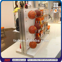 TSD-M076 Custom store double sided floor metal basketball display stand/retail shop display designs /sports shop display stands