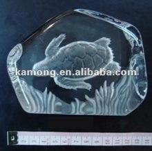 Deep engraved optical glass crystal iceberg animal