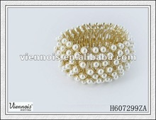 Guang dong viennois Fashion Ladies Many White Pearl Gold bracelet