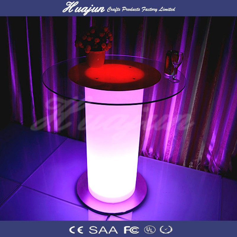 led bar table/glass top table& glass top round bar table