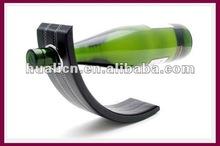 New design magic leather gravity wooden wine bottle holder