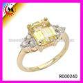 Anel ajustável retângulo ZIRCONIA anel de pedra 14 K banhado a ouro