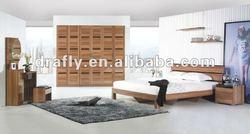 2012 hot glossy walnut veneer pattern bedroom furniture