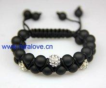 HOT 2 rows woven friendship bracelets with matt black onyx