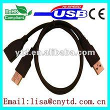 black color am/fm cable extension USB2.0 Y splitter data cable