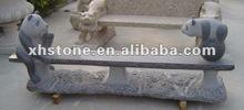 panda carved long stone bench