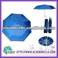 Aluminium blue 3 folding sun and rain umbrella