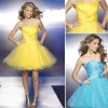 ZCD-007 Beautiful Draped Off-shoulder Flower Beading Organza A Line Cocktail Dress