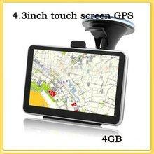 4.3 inch Touch SCREEN FM GPS navigation MediaTek Win CE6 free MAP + 4GB flash mermory gps tracking system