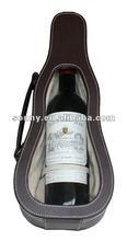1 bottle Violin shape carrry leather wine case holder