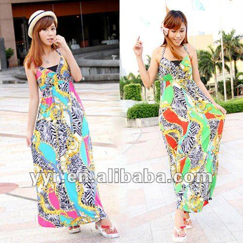 2012 nueva combinación de colores de verano cabestro vestidos de playa