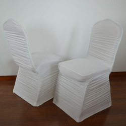 Fashional off-white shirred/pleated spandex chair cover for weddings