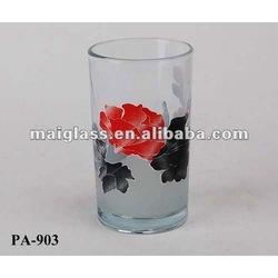 High quality applique cup/chinese style pattern glassware/chinese style glass cup