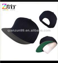 Wholesale Blank Black Flat Visor Snapback Cap