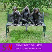 SBN-BZA-B990 3 MONKEYS ON BENCH bronze Sculpture