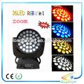 36pcs*10w quad color rgbw 4in1 zoom led cabeza móvil luz