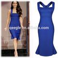 Casual curto vestido sereia, royal blue vestido sereia