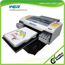 New desktop A2 grade flatbed digital t- shirt printing machine