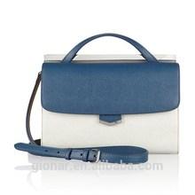 Office ladies genuine leather block handbags purse two zipper closure