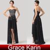 Grace Karin Short Front Long Back Evening Party Dress 2015 Black Strapless Chiffon CL6166