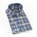 2015 100% de algodón de alta calidad de color azul equipada camisas de franela para los hombres