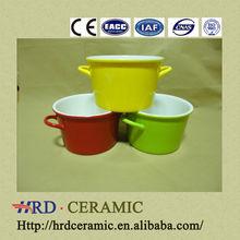 Large colorful two handle porcelain ceramic bowl,white porcelain