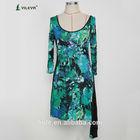 2014 korean three quarter sleeve girl print boutique dres plus size new fashion ladies dress with tail