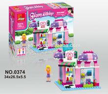 2015 Super Plastic Cake Shop Girl Building Block Toys