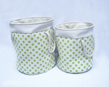 on sale round green dot pattern Eva fabric laundry bag (basket) with cotton rope handles for set 2