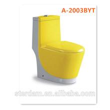 ceramic western toilet bowl elongated yellow color water saving washdown chaozhou sanitaryware