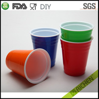 16oz Colorful Red Ripple Shape Double Wall Plastic Travel Party Cup Paper Cup with printing