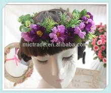 Wedding Bridal Artificial Flower Headband Crown Accessories Purple Florals Wedding Bridal Hair Accessories Wholesale