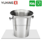 Polished Stainless Steel Ice Bucket - Home Bar Portable wine Container - single Wall