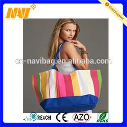 Durable multi color canvas beach bag/canvas tote bag/canvas sea bag