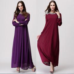 Manufacturer Women Long Sleeve Autumn Chiffon Dress Inside Lining Muslim Dress