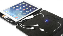 PU power bank tablet case with cell phone pocket