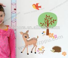 Lovely sika deer&birds ruler of measure height of children cartoon tree wall sticker