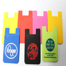 Fancy smartphone silicone card holders wallets,customer logo mobile phone card pockets