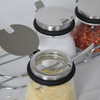 4 jars Glass flavor pot seasoning bottle sugar box lid of stainless steel