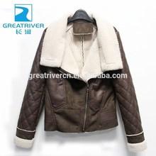 2014 Hot sale Custom pu jacket women zipper winter leather coats with fake fur lapel collar