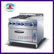HGR-904G 4-burner gas range with gas griddle & gas oven