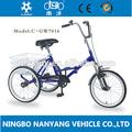 """Gw7016 20"""" adulto frame de dobramento da bicicleta triciclo/3 roda de bicicleta triciclo"""