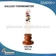 YG214M,BEAUTIFUL GALILEO THERMOMETER WITH WOOD BASE