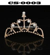 Shining rhinestone Romantic gold Hair Combs Silver plated Tiara Noble Princess Crown