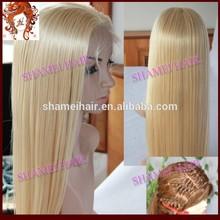 2015 New Design Silk Top Wig Serise#6 Blonde Hair White Human Hair Wig