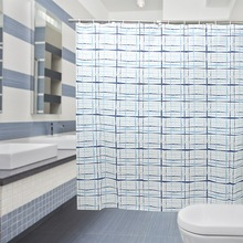 Modern wholesale eyelet curtain, shower curtain with small grid, polyester fabric curtain in bathroom