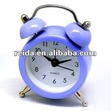 mini twin bell ring metal table alarm clock