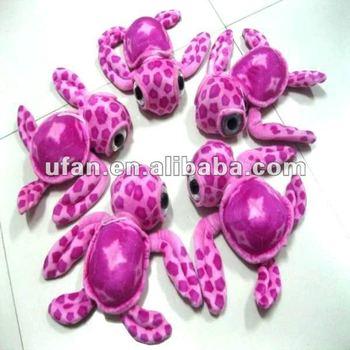 Pink funny turtle with big eyed stuffed animal plush toy