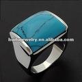r30545 de pulido espejo de diseño de moda color turquesa anillo de piedra