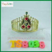 Golden Elegant Plastic Pageant Diamond Tiara for sale